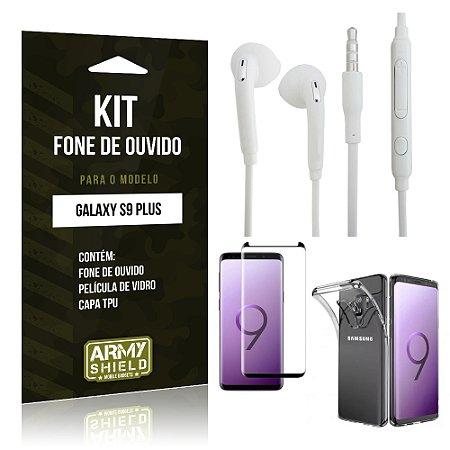 Kit Fone de Ouvido Galaxy S9 Plus Fone + Película + Capa - Armyshield