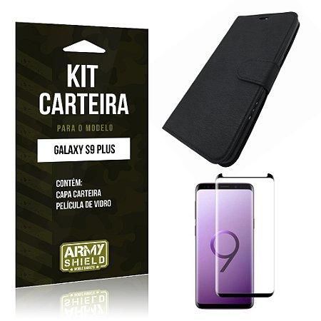 Kit Capa Carteira Galaxy S9 Plus Capa Carteira + Película - Armyshield