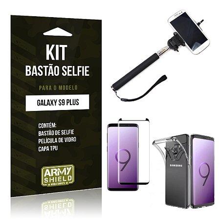 Kit Bastão Selfie Galaxy S9 Plus Bastão + Película + Capa - Armyshield
