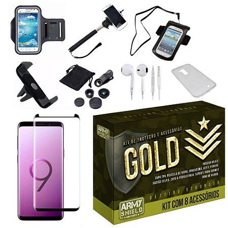 Kit Gold Galaxy S9 Plus com 8 Acessórios - Armyshield