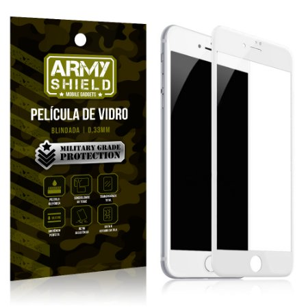 Película de Vidro Cobre a Tela Toda Apple iPhone 7 Plus Premium - Branco - Armyshield