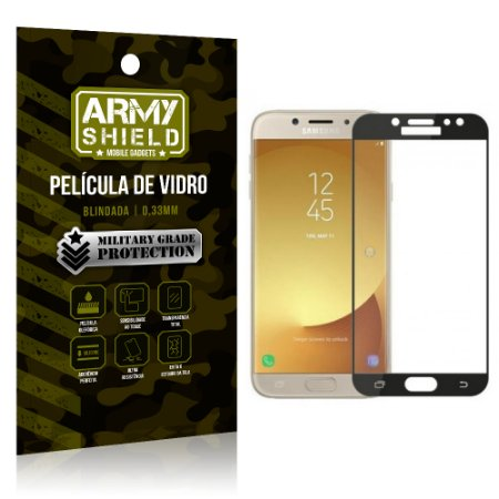Película de Vidro Cobre a Tela Toda Samsung Galaxy J7 Pro (2017) Premium - Preto - Armyshield
