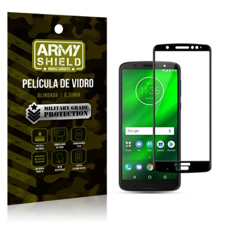 Película de Vidro Cobre a Tela Toda Motorola Moto G6 Plus Premium - Preto - Armyshield
