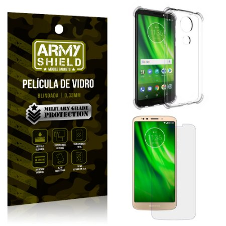 Kit Capa Anti Shock + Película de Vidro Motorola Moto G6 PLAY - Armyshield