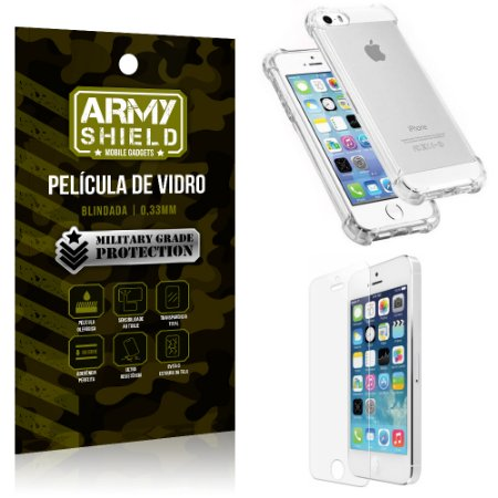 Kit Capa Anti Shock + Película de Vidro iPhone 5G/SE - Armyshield