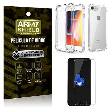 Kit Capa Anti Shock + Película de Vidro iPhone 8 - Armyshield