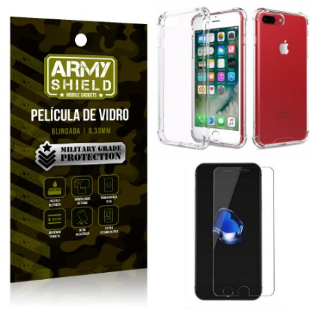 Kit Capa Anti Shock + Película de Vidro iPhone 8 PLUS - Armyshield