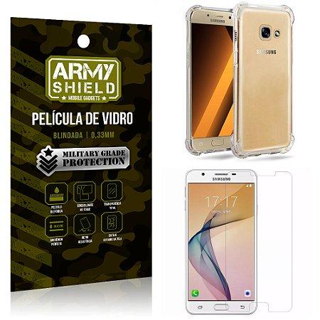 Kit Capa Anti Impacto + Película de Vidro Samsung Galaxy J5 prime - Armyshield
