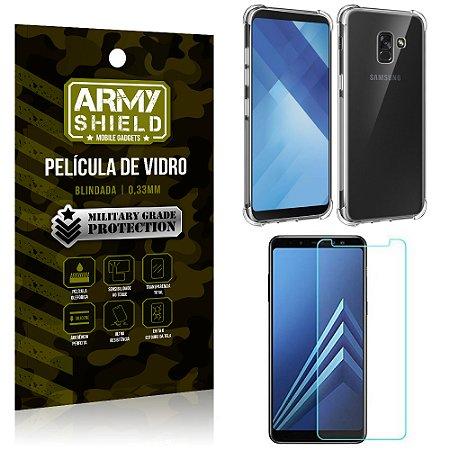 Kit Capa Anti Impacto + Película de Vidro Samsung Galaxy A8 - Armyshield