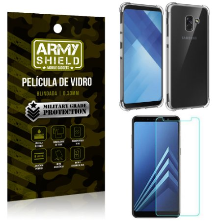Kit Capa Anti Impacto + Película de Vidro Samsung Galaxy A8 PLUS - Armyshield