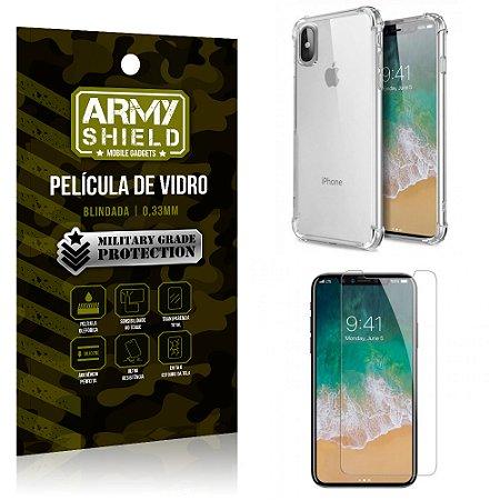 Kit Capa Anti Impacto + Película de Vidro iPhone X - Armyshield