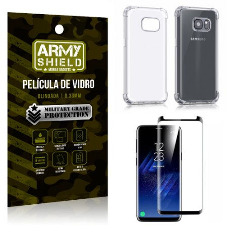 Kit Capa Anti Shock + Película Vidro Curva Premium Samsung Galaxy S8 PLUS - Armyshield