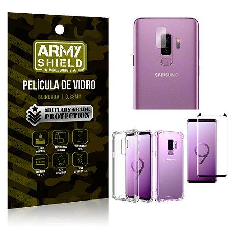 Kit Película de Lente + Película de Vidro + Capa Silicone Samsung Galaxy S9 Plus - Armyshield
