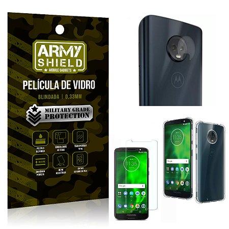 Kit Película de Lente + Película de Vidro + Capa Silicone Motorola Moto G6 Plus - Armyshield