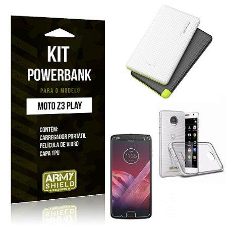 Kit Powerbank Tipo C Motorola Z3 Play Powerbank + Capa + Película  - Armyshield