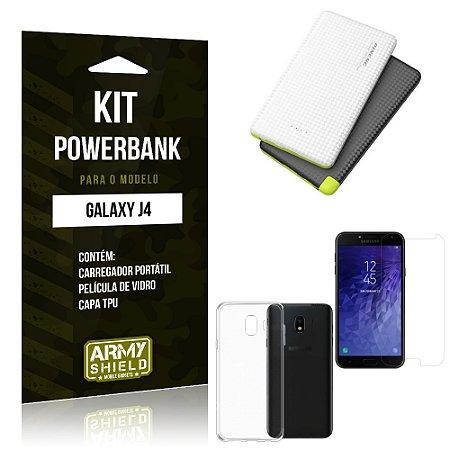 Kit Powerbank Samsung J4 Powerbank + Capa + Película  - Armyshield