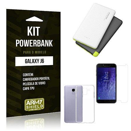Kit Powerbank Samsung J6 Powerbank + Capa + Película  - Armyshield