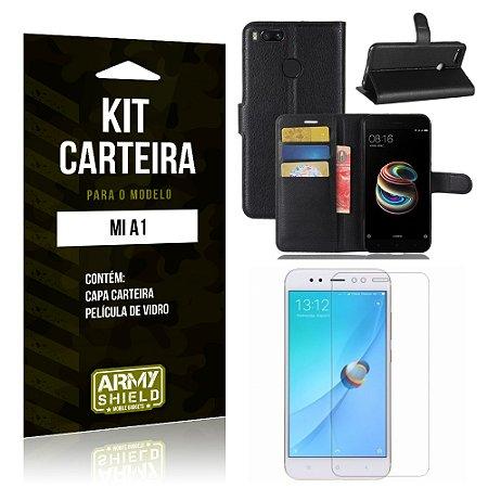 Kit Carteira Xiaomi Mi A1 Capa Carteira + Película de Vidro - Armyshield