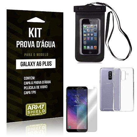 Kit Capa Prova D'água Samsung A6 Plus Capa a Prova D'água + Capa + Película  - Armyshield