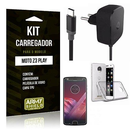 Kit Carregador Tomada Tipo C Motorola Z3 Play Carregador Tomada + Capa + Película  - Armyshield