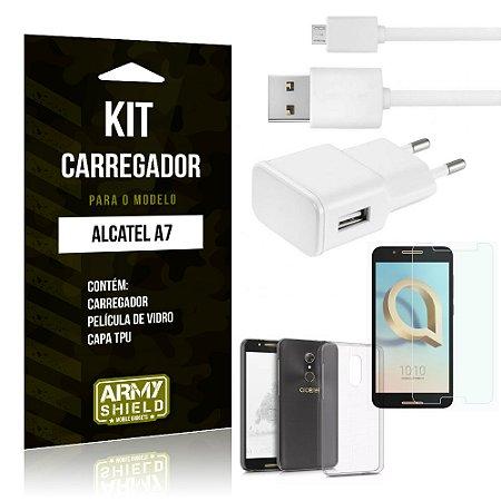 Kit Carregador Tomada Alcatel A7 Carregador Tomada + Capa + Película  - Armyshield