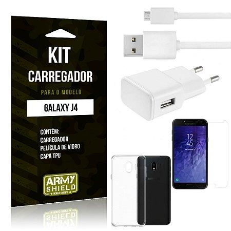 Kit Carregador Tomada Samsung J4 Carregador Tomada + Capa + Película  - Armyshield