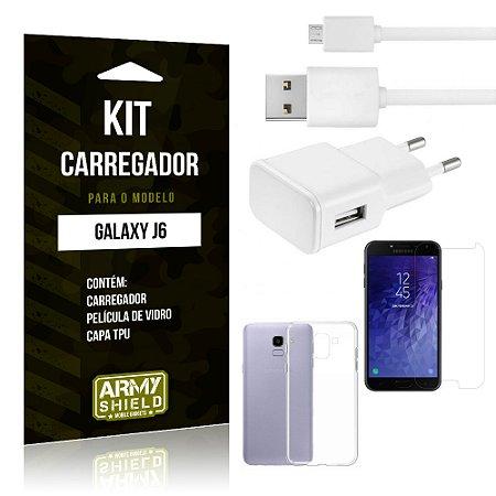 Kit Carregador Tomada Samsung J6 Carregador Tomada + Capa + Película  - Armyshield