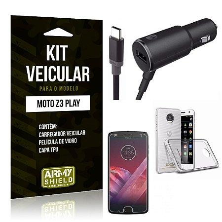 Kit Carregador Carro Tipo C Motorola Z3 Play Carregador Carro + Capa + Película  - Armyshield
