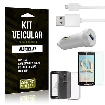 Kit Carregador Carro Alcatel A7 Carregador Carro + Capa + Película  - Armyshield