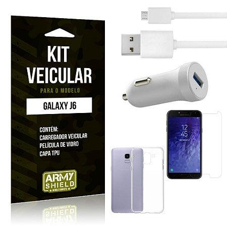 Kit Carregador Carro Samsung J6 Carregador Carro + Capa + Película  - Armyshield