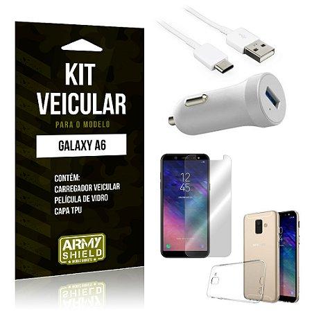 Kit Carregador Carro Samsung A6 Carregador Carro + Capa + Película  - Armyshield