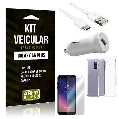 Kit Carregador Carro Samsung A6 Plus Carregador Carro + Capa + Película  - Armyshield