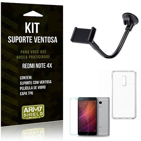 Kit Suporte Ventosa Xiaomi Redmi Note 4x Suporte Capa Película