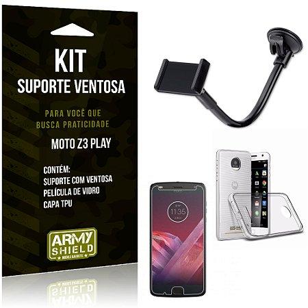 Kit Suporte Ventosa Motorola Z3 Play Suporte + Capa + Película  - Armyshield