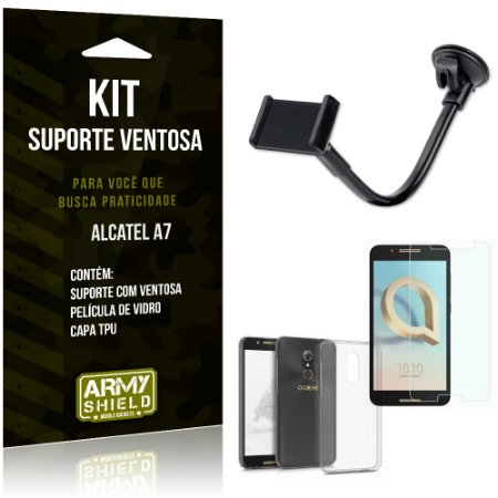 Kit Suporte Ventosa Alcatel A7 Suporte + Capa + Película  - Armyshield