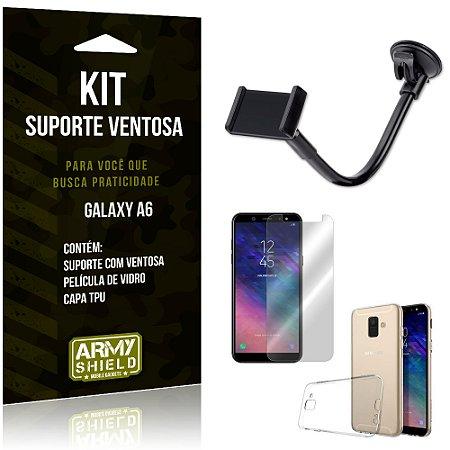 Kit Suporte Ventosa Samsung A6 Suporte + Capa + Película  - Armyshield