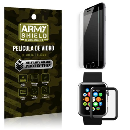 Kit Proteção Apple iPhone 7 Plus e Watch Película iPhone 7 Plus + Película Watch 38mm - Armyshield
