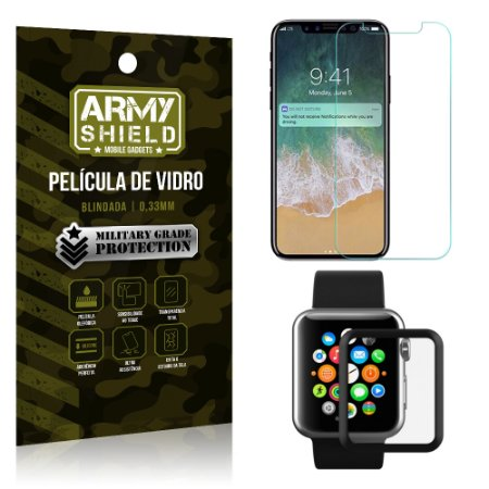 Kit Proteção Apple iPhone X e Watch Película iPhone X + Película Watch 38mm - Armyshield