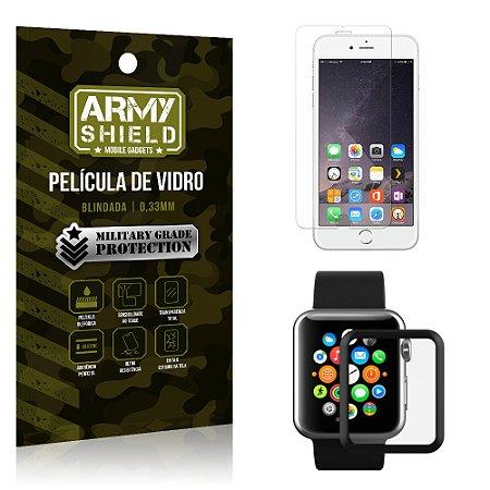 Kit Proteção Apple iPhone 6-6S e Watch Película iPhone 6-6s + Película Watch 42mm - Armyshield