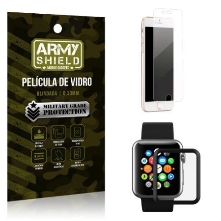 Kit Proteção Apple iPhone 8 Plus Watch Película iPhone 8 Plus + Película Watch 42mm - Armyshield