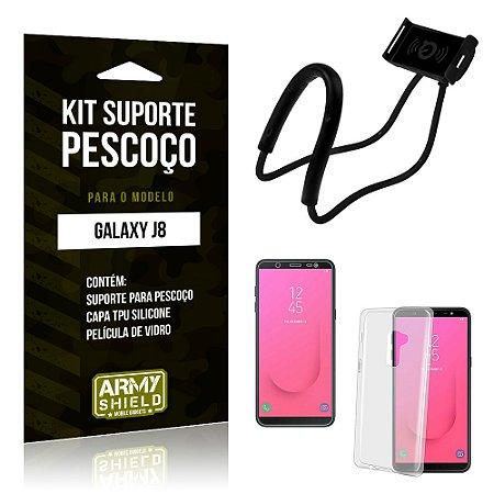 Kit Suporte Pescoço Samsung J8 Suporte + Capa + Película - Armyshield