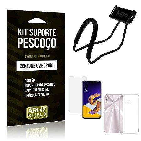 Kit Suporte Pescoço Asus Zenfone 5 ZE620KL Suporte + Capa + Película - Armyshield