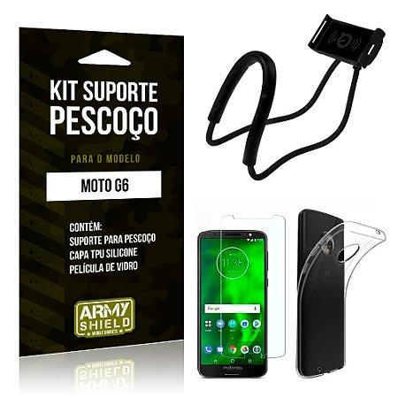 Kit Suporte Pescoço Motorola Moto G6 Suporte + Capa + Película - Armyshield