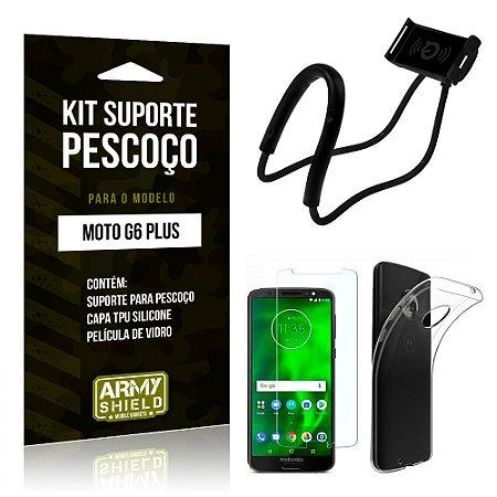 Kit Suporte Pescoço Motorola Moto G6 Plus Suporte + Capa + Película - Armyshield