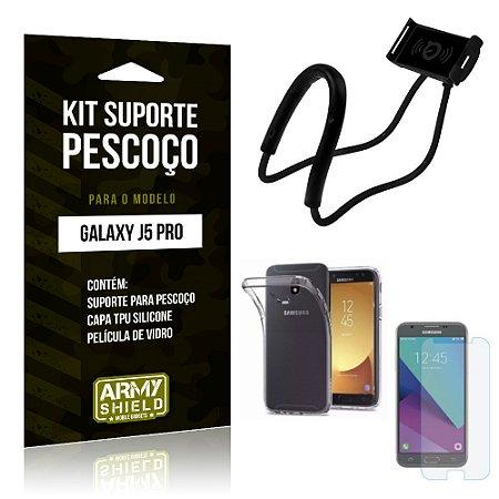 Kit Suporte Pescoço Samsung J5 Pro Suporte + Capa + Película - Armyshield