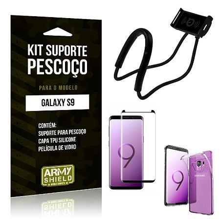 Kit Suporte Pescoço Samsung S9 Suporte + Capa + Película - Armyshield