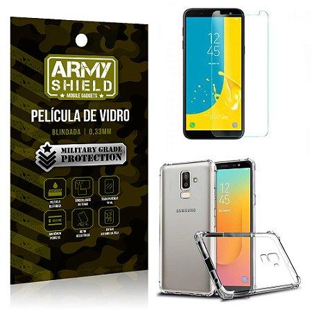 Kit Capa Anti Shock + Película Vidro Samsung Galaxy J8 - Armyshield