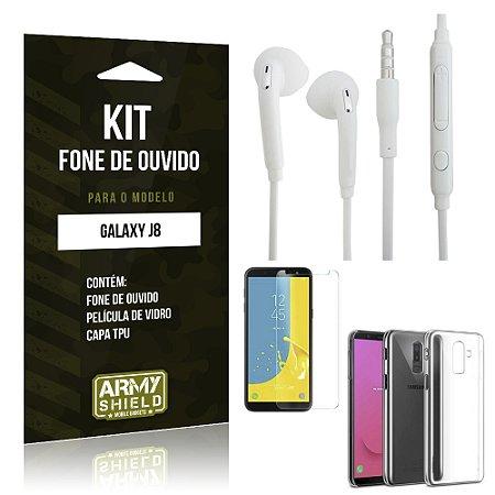 Kit Fone de Ouvido Galaxy J8 Fone + Película + Capa - Armyshield