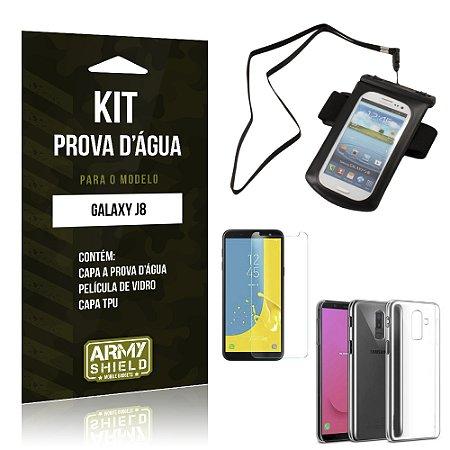 Kit Capa à Prova D'água Galaxy J8 Prova Dágua + Película + Capa - Armyshield