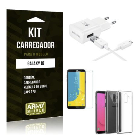 Kit Carregador Galaxy J8 Carregador + Película + Capa - Armyshield